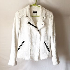 Corwik White Boucle Jacket with Fringe